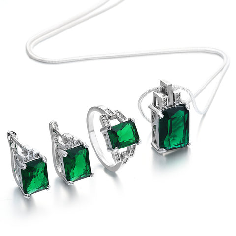 2017 Stylish Jewelry Set for women Engagement green zircon silver color The best choice for wedding party gift - onlinejewelleryshopaus
