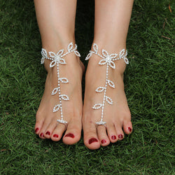 Brilliant Rhinestone Barefoot Sandals Fashion Floral Leaf Anklet Wedding Foot Jewelry 1PC 1K4020 - onlinejewelleryshopaus