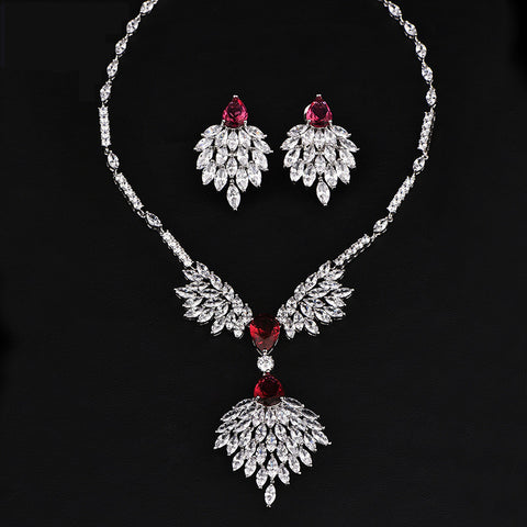 Bridal Jewellery Set Cubic Zirconia Rhinestone Necklace Long Earrings Statement Wedding Crystal Bridal Jewlery Set - onlinejewelleryshopaus