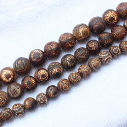 "Old Eye Dzi Agate 8-14mm Round Loose Beads 15"" For DIY Jewelry Making ,We provide mixed for all items ! - onlinejewelleryshopaus"