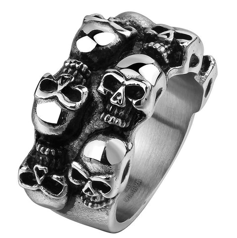 Famous Brands Vintage pirate skull Men's Rings Cool Sons  Anarchy Death Skull Ring  316L Stainless Steel Grim Raper Skull Ring - onlinejewelleryshopaus