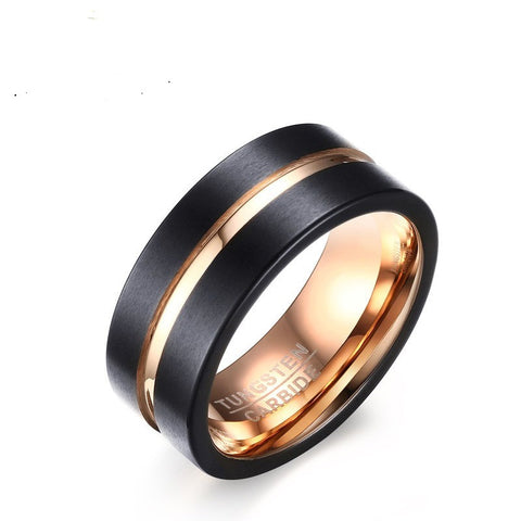 8MM rose gold black tungsten Mens ring, Dropship, Wholesale - onlinejewelleryshopaus