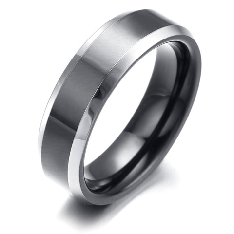 6mm Mens tungsten Ring, Comfort Fit, Black & Silver, KR2331 - onlinejewelleryshopaus