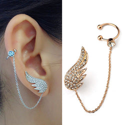 2015 New Style Fashion Ear Cuff Jewelry Inlay  Austrian Crystal  Angel Wings Stud Earring Sets Fashion Party Jewelry - onlinejewelleryshopaus