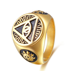 Mens Jewelry Illuminati pyramid eye symbol 316L Stainless steel Signet Ring - onlinejewelleryshopaus