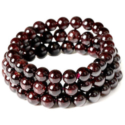 January Birthstone Natural Garnet Bead Bracelet Claret-red Handmade Pulseras Stretch Cord  Jewelry wholesale - onlinejewelleryshopaus