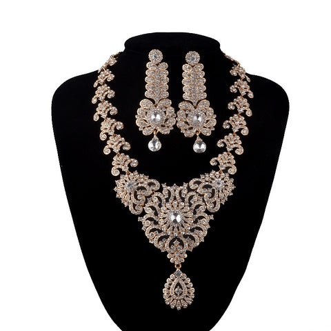 India Style Wedding Jewelry Set Crystal Rhinestone necklace earrings set Bridal Party Jewelry Accessories gold plated Earrings - onlinejewelleryshopaus