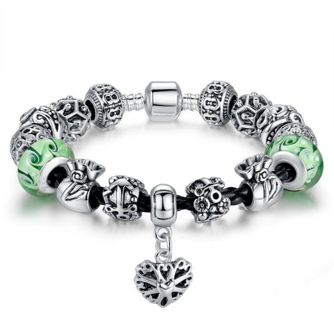 925 Silver Charm Bracelet & Bangle for Women With Green Murano Glass Beads DIY Birthday Gift A1809 - onlinejewelleryshopaus