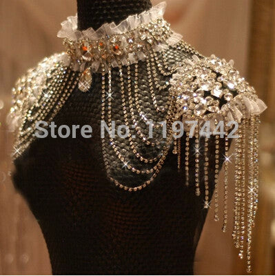 Bride Beads Lace Bridal Chain Tassel Shoulder Strap Jewelry Crystal Accessories Jewellery Wedding Necklace Jewerly Sets - onlinejewelleryshopaus