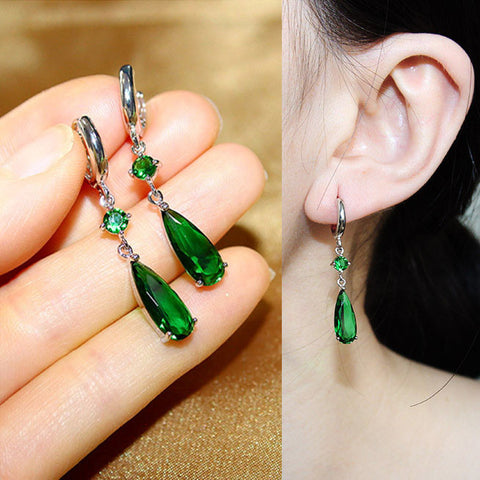 Luxury Fashion Long Water Drop CZ diamond Dangle Earrings Green Blue Red Pink stone Drop Earrings For Women Party Jewelry - onlinejewelleryshopaus