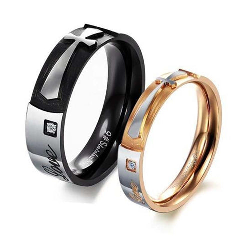 Free Shipping his and hers promise ring sets, Engagement Couple Stainless Steel Forever Love Rings Lovers,men/women cross rings - onlinejewelleryshopaus
