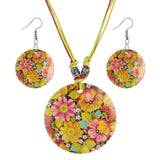 Round Beads Pendant Necklace Drop Earring Bridal Wedding Summer Jewelry