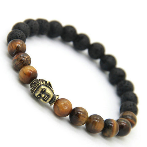 Ailatu Hot Sale Men's Beaded Buddha Bracelet, Tiger Eye Yoga Meditation Jewelry for Party Gift - onlinejewelleryshopaus