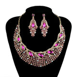 Fashion Crystal Necklace Earrings Bridal jewelry sets women Party Wedding Jewelry  Accessories Decoration earrings sets - onlinejewelleryshopaus