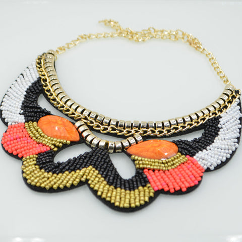 New handmade Embroidery Collar trendy Ethnic Collares Colorful Beadwork Pendant resin Necklace For Women Jewelry - onlinejewelleryshopaus
