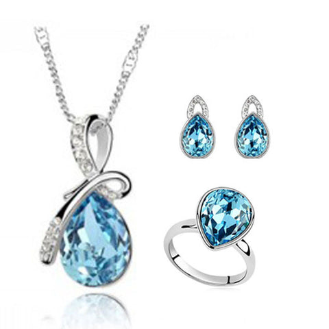 2014 new fashion silver plated crystal jewellery set water drop wedding rings earring Pendants Necklaces Bridal Sets for women - onlinejewelleryshopaus