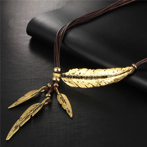17KM 2016 4 Color Brand New Big Luxury Statement Pendant Choker Necklace Vintage Maxi Rope Chain Feather Women Accessories - onlinejewelleryshopaus