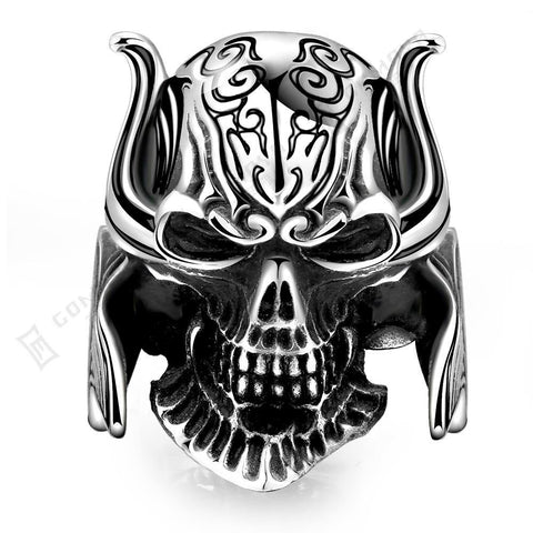 Men's Crusader Templar Knight Warrior Skull And Skeleton Titanium Stainless steel Classic Silver Black Men's Ladys Skull Ring - onlinejewelleryshopaus