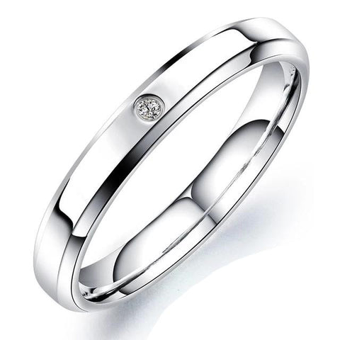 Engrave Name Couple Rings Simple Style Stainless Steel Wedding Rings
