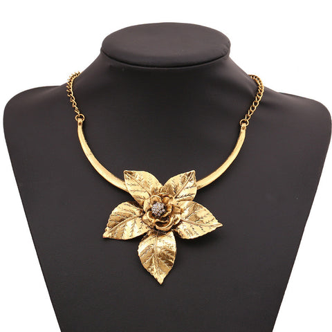 2015 Fashion Vintage Alloy Necklace For Women Retro Gold/Silver Plated Big Flower Pendant Necklace Choker Necklaces XLL110 - onlinejewelleryshopaus