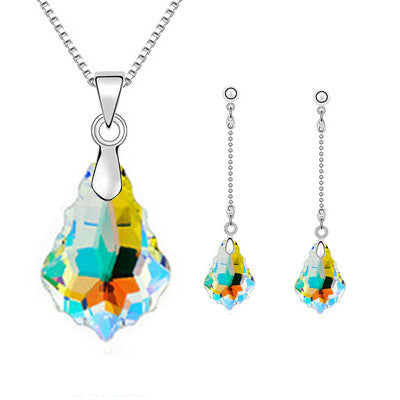 New Irregular Maple Water Drop Multicolor Crystal Jewelry Sets For Women Gold&Silver Bridal Wedding Charm Necklaces Earrings Set - onlinejewelleryshopaus