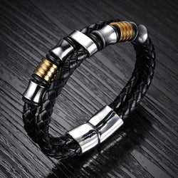 Classical Double Layer Handmade Leather Chain Weaved Man Bracelets Fashion New Magnet Clasp Stainless Steel Wristband LPH887 - onlinejewelleryshopaus