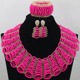 Orange Coral Chunky Bib Statement Jewelry Set Women Collar Necklace Beaded Set Costume African Jewellery Set Free Shipping WD496 - onlinejewelleryshopaus