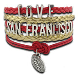 (10 PCS/Lot) Infinity Love San Francisco Football Wrap Bracelet Multilayer 49ers Football Red Gold Leather Fashion Bracelet - onlinejewelleryshopaus