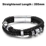 2016 Fashion Brand Men Bracelet Stainless Steel Leather Wristband Vintage Bangles Rock Men Personalized Jewelry Pulseras LPH891 - onlinejewelleryshopaus