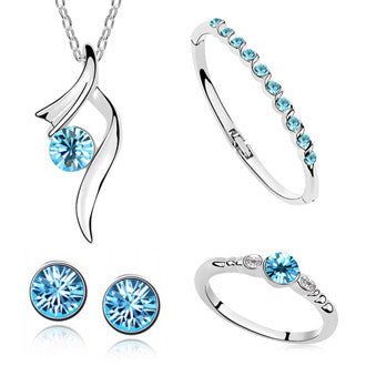 HOT SALE New 2015 Bridal jewelry sets silver Plated Crystal necklaces & pendants earrings ring bracelet bangles for Women - onlinejewelleryshopaus