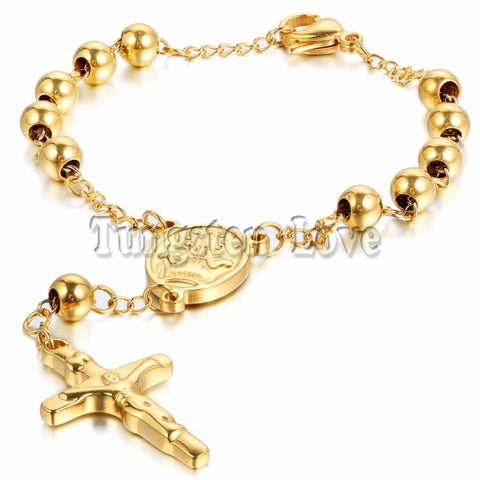 New Men Women's Stainless Steel Charm Bracelet Gold / Silver Jesus Christ Crucifix Cross Rosary Chain Bracelet 8.6 inch - onlinejewelleryshopaus