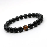 12 Constellation Natural Black Onyx Agate with Tiger eye Stone Beads Men Bracelet Leo Lovers Energy Strand Bracelets H-2 - onlinejewelleryshopaus