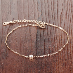 Wholesale 2016 New Fashion Women Fine Jewelry Rose Gold Plated Stainless Steel Woman Anklets Bracelet Female Foot Chain LGZ013 - onlinejewelleryshopaus