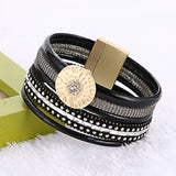 Braided Multilayer Rhinestone Leather Bracelet Femme 2017 Brazilian Beach Magnet Buckle Tassel Friendship Bracelets Boho Jewelry - onlinejewelleryshopaus