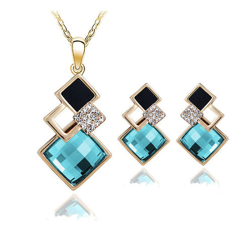 New Fashion womens Geometry square jewellery set of wedding jewerly sets for women with blue crystal african Female Jewelry set - onlinejewelleryshopaus