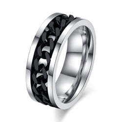 QianBei 8mm Rotatable Chain Ring For Men Women Stainless Steel Flexible Spinner Link Casual Fraternal Rings Male Jewelry Gift