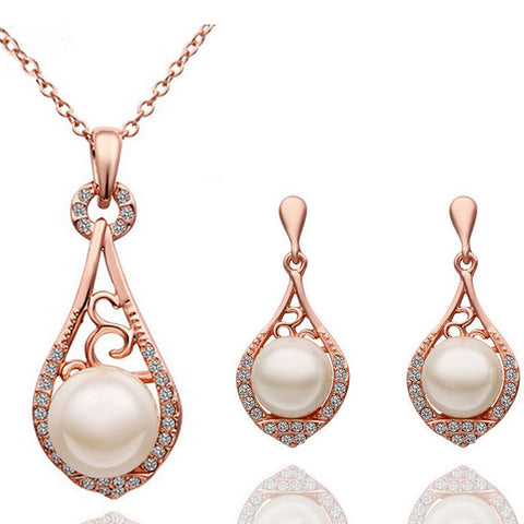 2016 fashion Female fine jewelry vintage wedding bridal imitation pearl Jewellery sets for women Rose gold-plated jewelry sets - onlinejewelleryshopaus