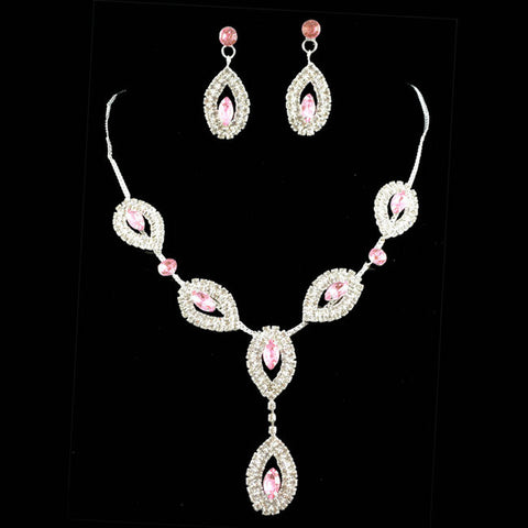 2016 New hot sell rhinestone wedding jewelry sets bridal party jewelry gift sets pink necklace and earrings high quality 100% - onlinejewelleryshopaus