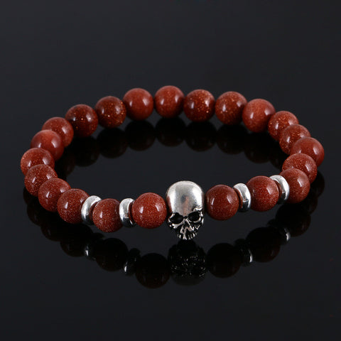 Fashion natural stones skull bracelet For women Lava stone beads and tiger eye stone beads men bracelet - onlinejewelleryshopaus
