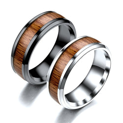 Ajojewel Size 5.5-14 Classic 8mm Titanium Steel Wooden Shape Rings For Men Women High Quality Party Engagement Jewelry