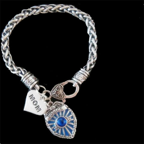 Antique Silver Plated Police Mom Police Sister Police Daughter Heart With Police Badge Charm Bracelet - onlinejewelleryshopaus