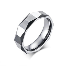 Sliver Geometric Color 5.5 MM Tungsten Carbide Multi-section Ring