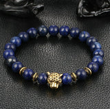 2016 Hot Sale Gold Plated Leopard Head Bead Buddha Bracelet Natural Stone Lava Tiger Eye Men and Women Bracelets christmas gifts - onlinejewelleryshopaus