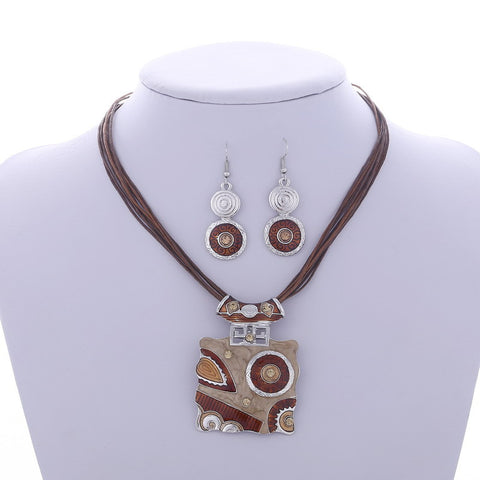 Fashion Jewelry Set Silver Filled Leather Geometry Square Pendant Necklaces Drop Earrings Jewelry Set Factory Wholesale Price - onlinejewelleryshopaus
