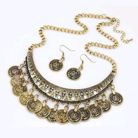 2016 New Women's Fashion Coin Style alloy necklace chain necklace earrings jewelry set - onlinejewelleryshopaus