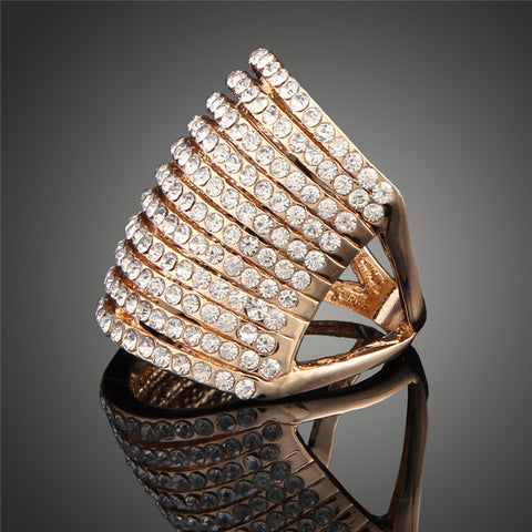New 2016 Hot Selling Luxury Stripe Rings For Women 24K/White Gold Plated Gradient Austrian Crystal Jewelry Free Shipping J00322 - onlinejewelleryshopaus