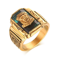Fashion Vintage Gold Metal Black Blue Red Crystal Ring 1973 Walton Tigers Navy Signet Rings for Men Male Boho Jewelry Size 7-15