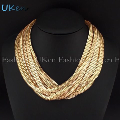 2016 Statement Choker Necklace Women Accessories Fashion Neck Fit Collar Multilayer Snake Chain Necklaces Maxi Jewelry N2516 - onlinejewelleryshopaus