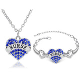 Elegant NURSE Jewelry Sets For Women Silver Plated Heart Shape Crystal Pendant Necklace+Bracelet Wedding Jewellery Sets 3 Colors - onlinejewelleryshopaus