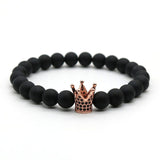 Micro Pave Black CZ Zirconia Gold Plated King Crown Charm Bracelet Men Dull Polish Matte Stone Bead Bracelets For Men Women NF-1 - onlinejewelleryshopaus